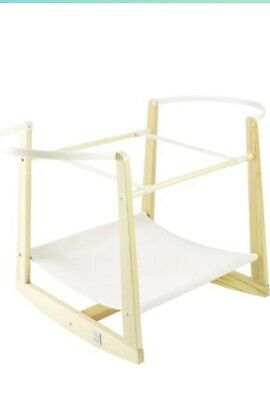 £5 • Buy Lollipop Lane Rocking Moses Basket Stand Natural Wood - VGC With Instructions