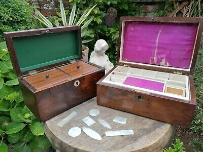£75 • Buy 2x Antique 19thc Rosewood Tea Caddy Jewellery Box + Chinese Counters