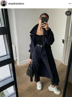 £20 • Buy Zara Navy Long/Maxi Trench Oversized W/ Belted Bag Size Small