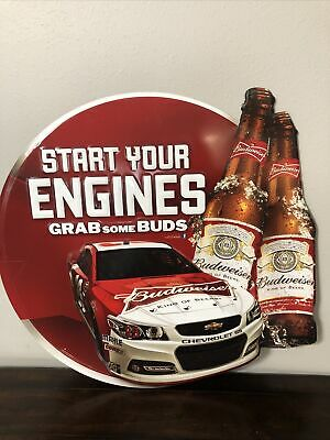 """$ CDN113.30 • Buy Official Budweiser NASCAR Start Your Engines Grab Some Buds Metal Sign 29x27"""""""