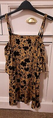 £0.99 • Buy Mustard And Black Off The Shoulder Top Size 18