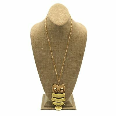 $24.49 • Buy Matte Gold Tone 3mm Chain Yellow Enamel Articulated Owl Pendant Necklace