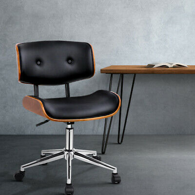 AU197.95 • Buy Office Chair Stylish PU Leather Wooden Seat Base Gas Lift  Height Adjustable