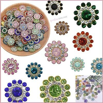 £4.28 • Buy Mixed Colours 14mm Sunflower Glass Diamond Crystal Rhinestones For Sewing Button