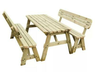 £260 • Buy Wooden Picnic Table And Bench With Rounded Corners Backrest Garden Set Silva-1