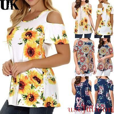 £4.79 • Buy Womens Cold Shoulder Floral Sunflower Print Tops T Shirt Summer Casual Blouse