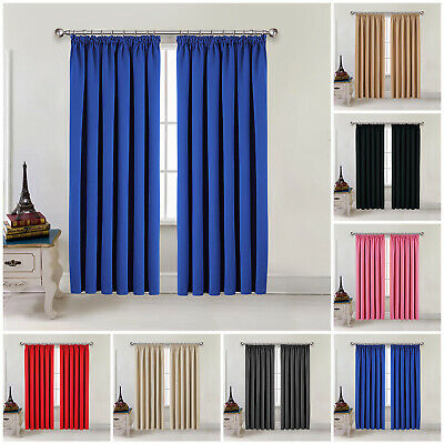 £19.99 • Buy Thick Thermal Blackout Curtains Pencil Pleat Ready Made Pair Curtains Panel