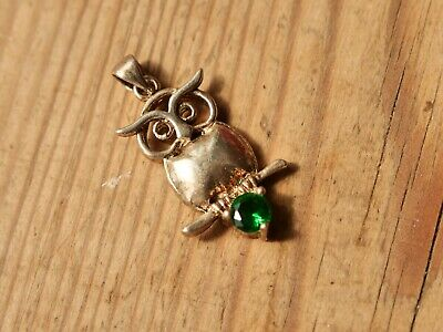 £10 • Buy 925 Silver Owl Animal Charm / Pendant With Green Stone