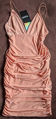 £9.95 • Buy Slinky Strappy Ruched Bodycon Dress Size 6 Orange Peach Party Coctail Mini Short