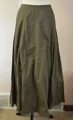 $24.99 • Buy Crossing Pointe 8 Long Military Green Woven Cotton Full A-line Skirt Modest