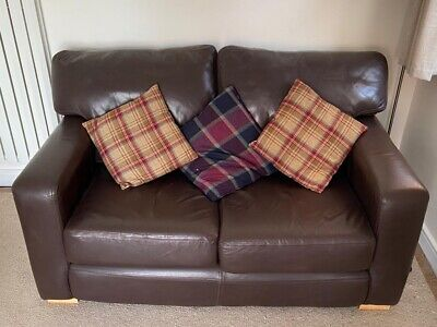 £100 • Buy Leather Sofa, Chairs And Foot Stool