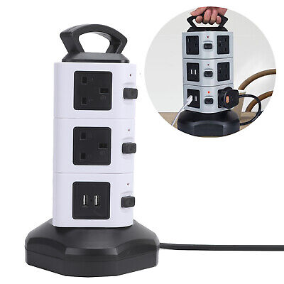 £17.49 • Buy 3 Layer 10 Way Surge Protected Tower Power Strip Extension Lead Socket 4 USB
