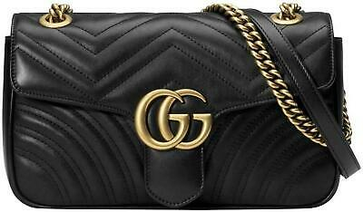 AU2522.55 • Buy Gucci Marmont Small Black Leather Matelasse Gold Chain Shoulder Crossbody Bag