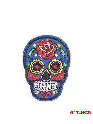 £2.40 • Buy Skull Embroidered Iron On Sew On Patches Transfers Badges Blue Rose Flower Patch
