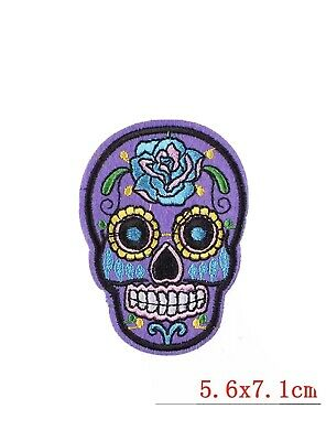 £2.40 • Buy Skull Embroidered Iron On Sew On Patches Transfers Badges Rose Flower Patch