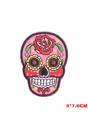 £2.40 • Buy Skull Embroidered Iron On Sew On Patches Transfers Badges Pink Rose Flower Patch