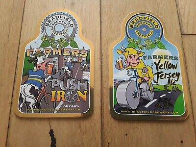 £5 • Buy .Bradfield Brewery, PUSH IRON & YELLOW JERSEY ALE.Beer Pump Clip CYCLING,TOUR ,