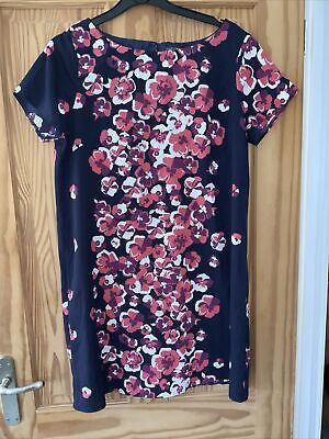 £8 • Buy Ladies Sheer Navy Blue Floral Dress British Home Stores Size 14