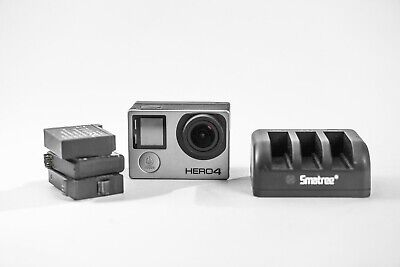 $ CDN72.87 • Buy GoPro HERO4 Action Camera - Silver With Display Back & 3 Batteries Plus Charger.