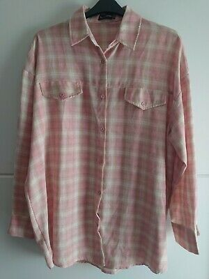 £3.20 • Buy Prettylittlething Oversized Pink Checked Shirt Size 16