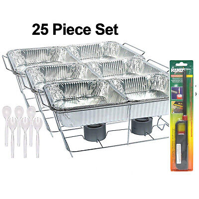 £29.02 • Buy 25 Pc Disposable Aluminum Chafing Dish Buffet Party Set WITH HANDY LIGHTER