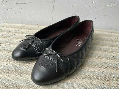 £235.76 • Buy CHANEL Cap Toe Quilted Leather Ballet Ballerina Black Flats Shoes 39.5 Used