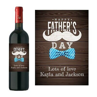 £2.95 • Buy Personalised Happy Father's Day Wine Bottle Label Men Fathers Dad
