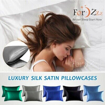 AU16.99 • Buy 1800TC Envelope Silky Satin 2in1 PillowCases Cover For Hair And Skin 48X74cm Bed
