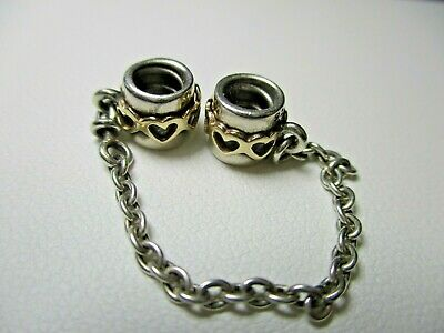 AU72 • Buy PANDORA - Hearts Silver & 14k Two Tone Moments Safety Chain - 790307