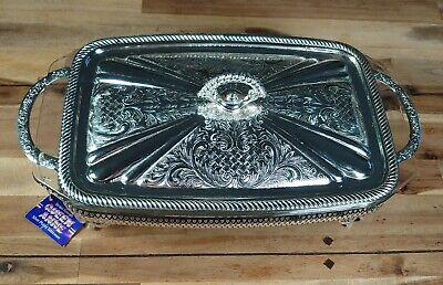 £24.99 • Buy Queen Anne Pyrex Oven To Table Silver Plate Serving Dish 1970's Vintage In Box