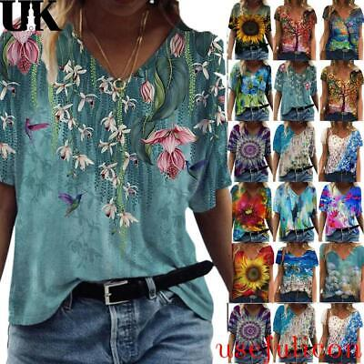 £8.63 • Buy Plus Size Womens Floral Print Short Sleeve Blouse T Shirt Casual V-Neck Tops