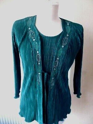 £2.25 • Buy Forever By Michael Gold  Beaded 2 Layer Top Size S. Teal Green