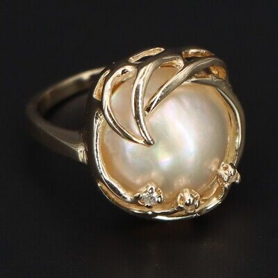 $475 • Buy VTG 14K YELLOW GOLD 585 - Mabe Pearl & Diamond Cocktail Ring Size 3.5 - 5.1g