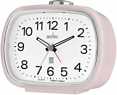 £15.99 • Buy Acctim Camille Light Pink Luminous Tipped Hands Bedside Table Alarm Clock