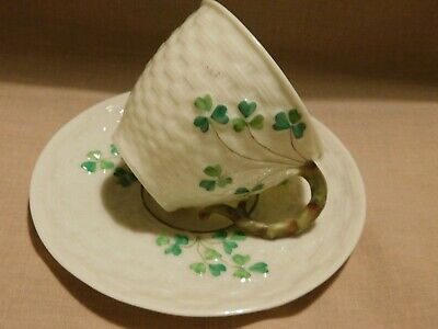 £27.90 • Buy ANTIQUES BELLEEK POTTERY   CHAMROCK   PATTERN  CUP WITH SAUCER - 2nd BLACK MARK