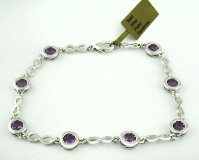 £0.70 • Buy GENUINE 4.22 Cts AMETHYST TENNIS BRACELET SILVER PLATED * New With Tag *