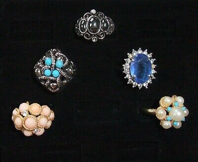 $ CDN9.99 • Buy Vintage Avon Costume Jewelry Ring Lot Gold Silver Tone Missing Adjustable Ring