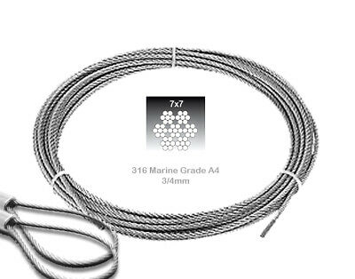 £1.99 • Buy A4 Wire Rope Stainless Steel Clear PVC Coated Wire Rope Marine Grade 2-3mm 3-4mm