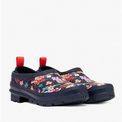 £38.95 • Buy Joules POP ON Ladies Rubber Water Resistant Comfy Welly Clogs Navy Blossom Spot