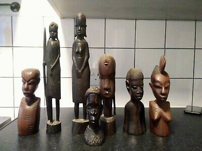 £6.50 • Buy Collection Of Vintage African/Ethnic Hardwood Hand Carved Wooden Tribal Figures