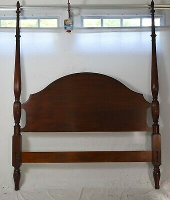 $2199 • Buy Henkel Harris Carved Mahogany Queen Four Poster Bed Finish 29 Flame Finials