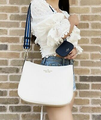 $ CDN193.67 • Buy Kate Spade Rosie Crossbody Bag Zip Pouch Parchment Beige White Pebbled Leather