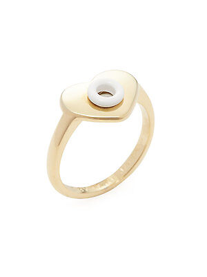 £14.15 • Buy MARC By MARC JACOBS Jewelry Gold & White Hole Hearted Ring Size 8 NEW