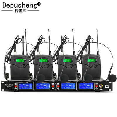 £54.99 • Buy Wireless UHF Professional Microphone Headset Hands-free Kit 4 Transmitters NEW