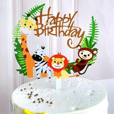 £2.39 • Buy Happy Birthday Animals Cake Toppers Baby Zoo Safari Jungle Party Decoration