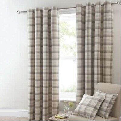 """£74.99 • Buy Balmoral Ochre Neutral Curtains Dunelm Mill Checked Lined Eyelet 90x54"""" 228x137c"""
