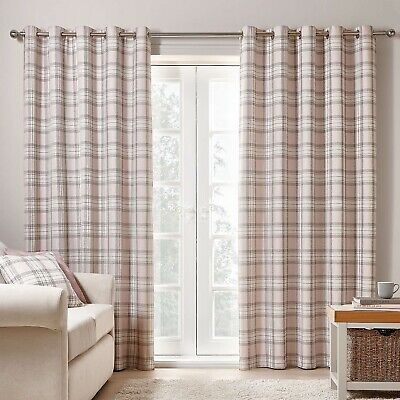 """£59.99 • Buy Dunelm Mill Fyfe Pink & Grey Checked Lined Eyelet 66x54"""" 168x137cm Dunelm Mill"""