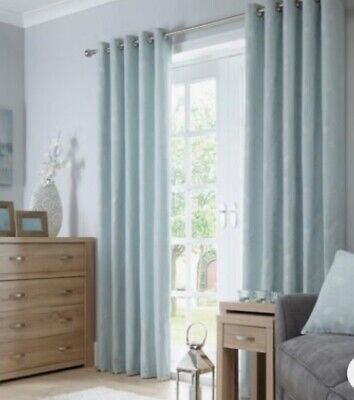 """£54.99 • Buy Dunelm Mill Honesty Seafoam Blue Curtains Lined Eyelet 66x72""""168x182 Embroidered"""