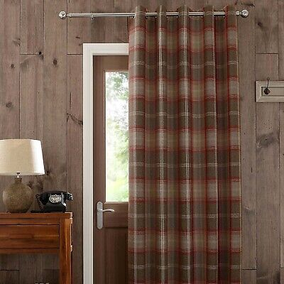 """£34.99 • Buy Highland Check Lined Red Door Curtain Dunelm Mill 46x84"""" 117x213cm"""