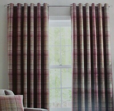 """£69.99 • Buy Logan Multi Red Check Lined Eyelet Curtains Dunelm Mill 90x54"""" 228x137cm"""